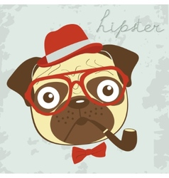 Pug hipster smoking pipe vector
