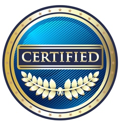 Certified blue label vector