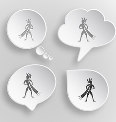 Ethnic little man with trumpet white flat buttons vector