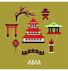 Japan architectural and cultural symbols flat vector image