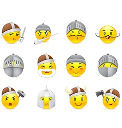 Anime smilies vikings and knights vector