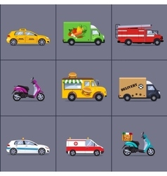 Various urban and city cars vehicles vector