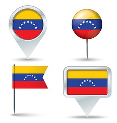 Map pins with flag of venezuela vector