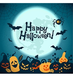 Halloween background of cheerful pumpkins vector