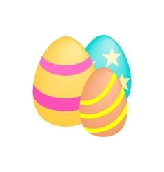 Three easter eggs isometric 3d icon vector