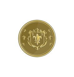 Fleur de lis coat of arms gold medal retro vector
