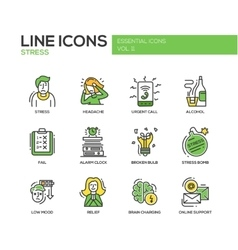 Stress at work - line design icons set vector image