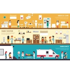 Medical care family doctor ambulance flat hospital vector
