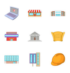 building icons set cartoon style vector image vector image