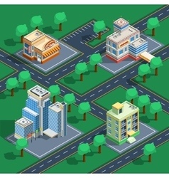 Building Isometric Set vector image vector image