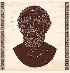Bust of the greek poet homer vector