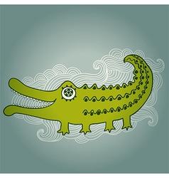 Cartoon crocodile cartoon with kind c vector