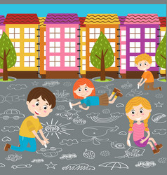 Children draw on asphalt vector