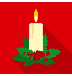 Christmas candle in flat style with long shadows vector
