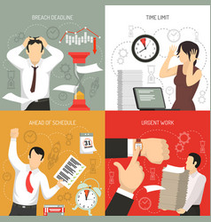 deadline 4 flat icons concept vector image vector image