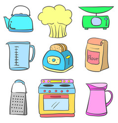 Equipment kitchen colorful doodle style vector