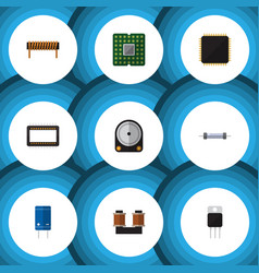 Flat icon electronics set of mainframe unit vector