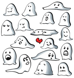 Ghost characters isolated on white background with vector image