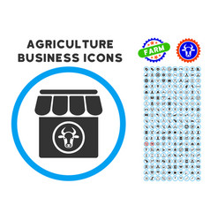 Livestock farm rounded icon with set vector