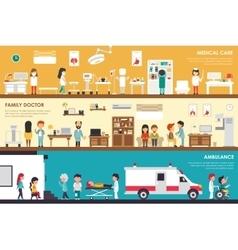 Medical Care Family Doctor Ambulance flat hospital vector image