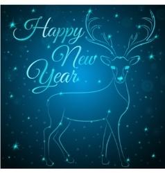 Merry christmas blue deer vector