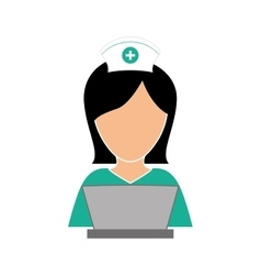 Nurse in computer icon image vector