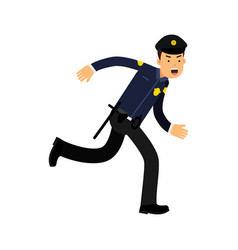 police officer character in a blue uniform running vector image