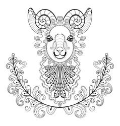 Ram with floral frame wreathe zentangle vector