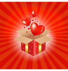 Red Gift Box And Hearts vector image vector image