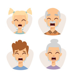 set crying emoticons face of people fear vector image