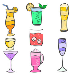 Set drink various doodles collection vector