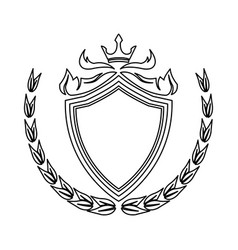 Shield crown laurel decoration royal heraldic vector