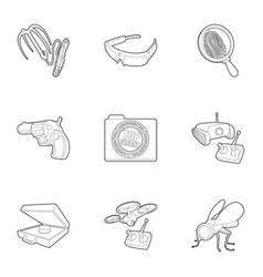 spy agent icons set outline style vector image