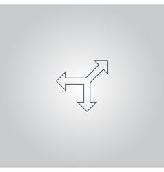 Three-way direction arrow vector