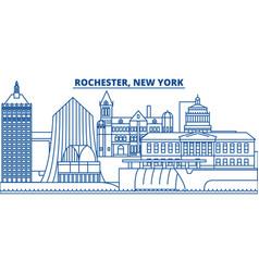 usa new york rochester winter city skyline vector image