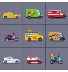 Various urban and city cars vehicles vector