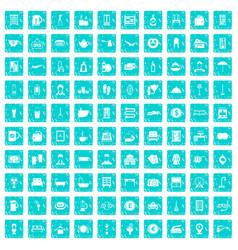 100 inn icons set grunge blue vector