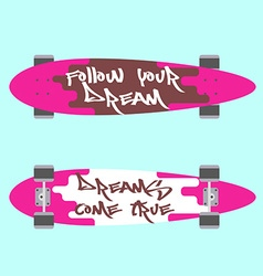 Longboard top and bottom view vector