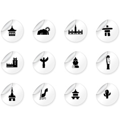 Stickers with landmarks and cultures icons vector