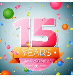 Fifteen years anniversary celebration background vector image