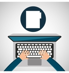 Person working laptop folder social media graphic vector