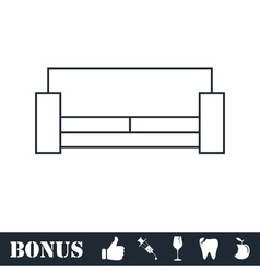 Bed icon flat vector