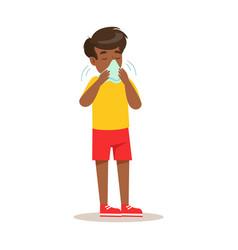 Sick kid blowing his nose feeling unwell suffering vector