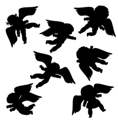 Flying angels silhouettes vector