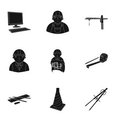 a set of icons on the theme of construction and vector image