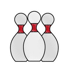 Scribble bowling pins cartoon vector