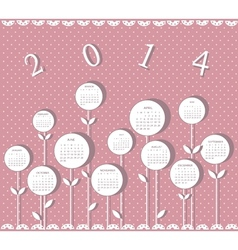 Calendar for 2014 year with flowers for girls vector