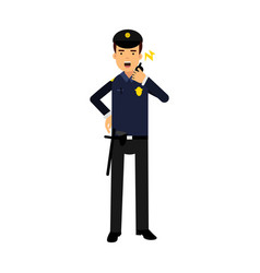 police officer in a blue uniform talking on a vector image