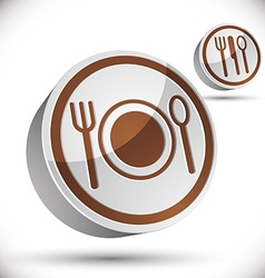 Plate fork and spoon 3d icon vector