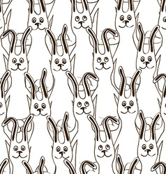 Seamless pattern of funny bunnies vector